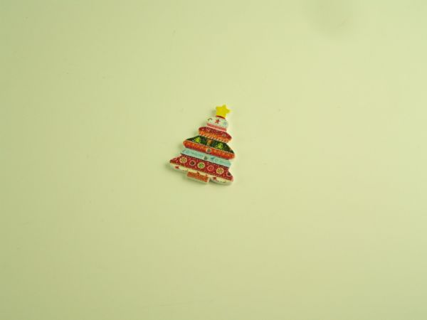 Christmas Tree Button - painted