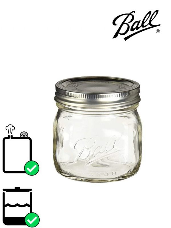 Ball Mason Glass Wide Mouth Screw Top Jar 490ml (x4)