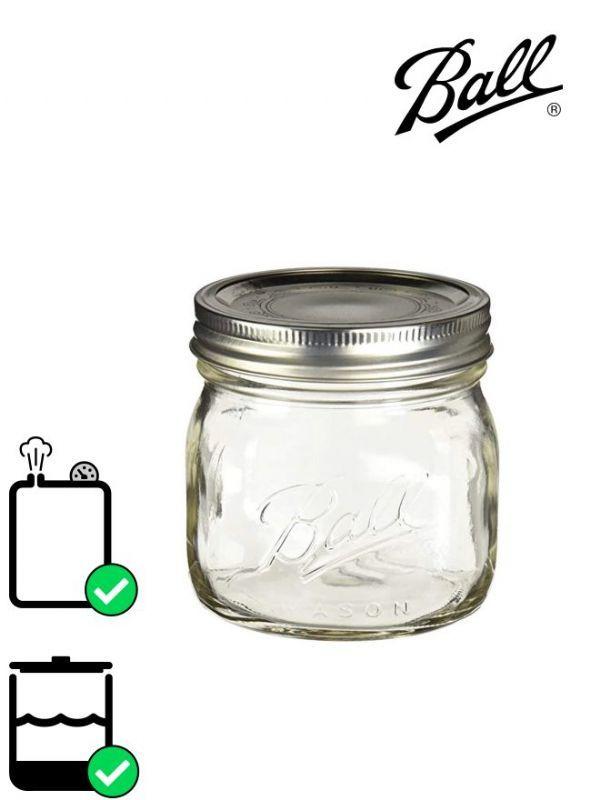 Ball Mason Glass Wide Mouth Screw Top Jar 490ml (x4) 1
