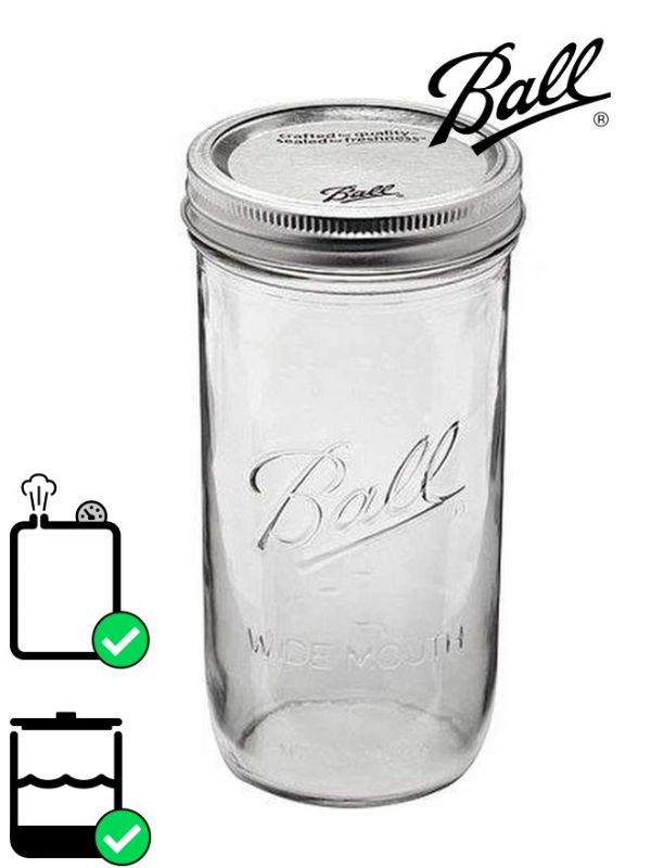 Ball Mason Glass Wide Mouth Screw Top Jar 710ml (x9)
