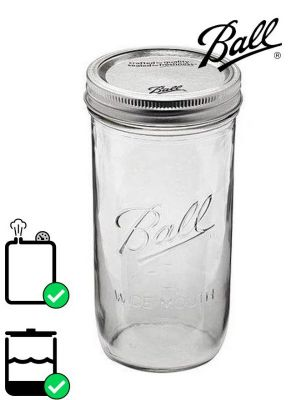 Love jam jars | Ball Mason Glass Wide Mouth Screw Top Jar 710ml (x9) Pack 9
