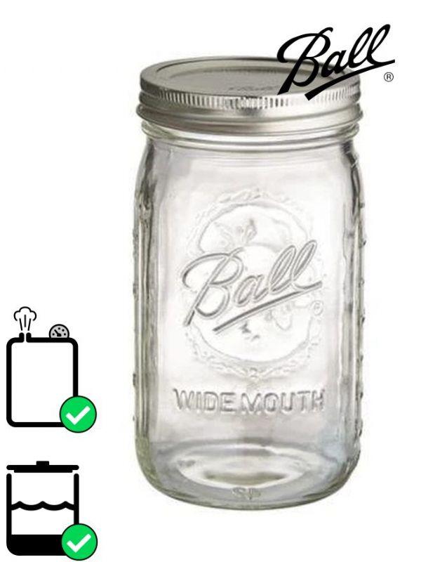 Ball Mason Glass Wide Mouth Screw Top Jar 945ml (x4)