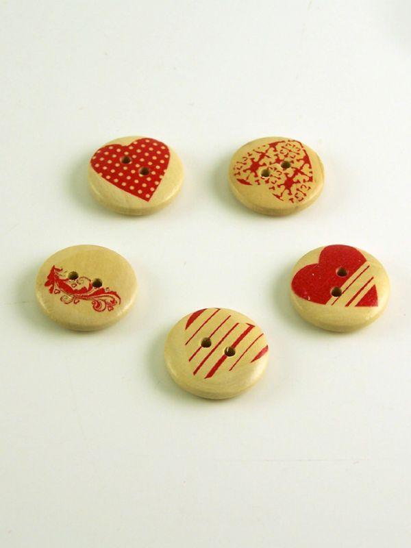 Heart Print Round Wooden Buttons