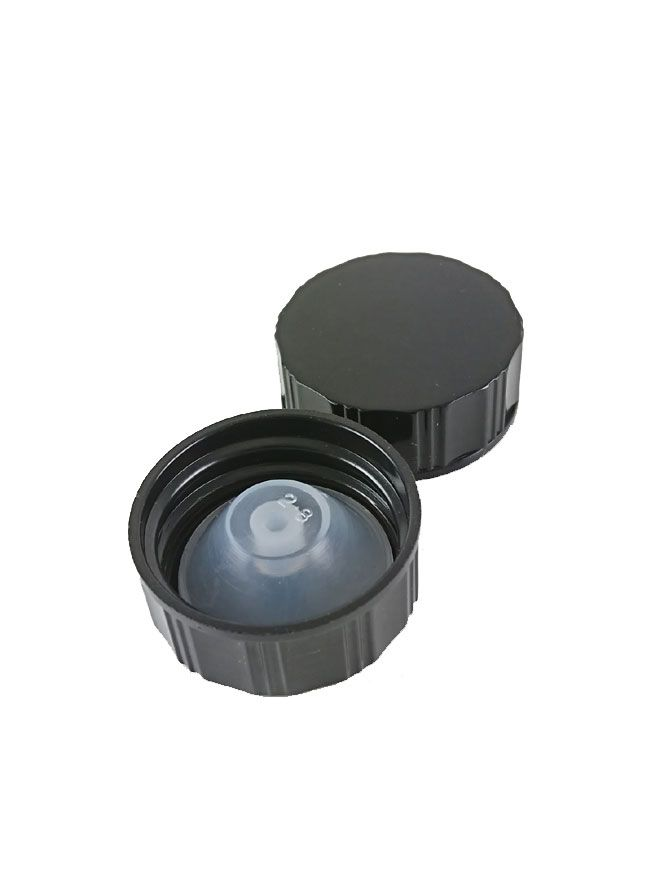 Clear Bottle Cap: 28mm Lined Polycone