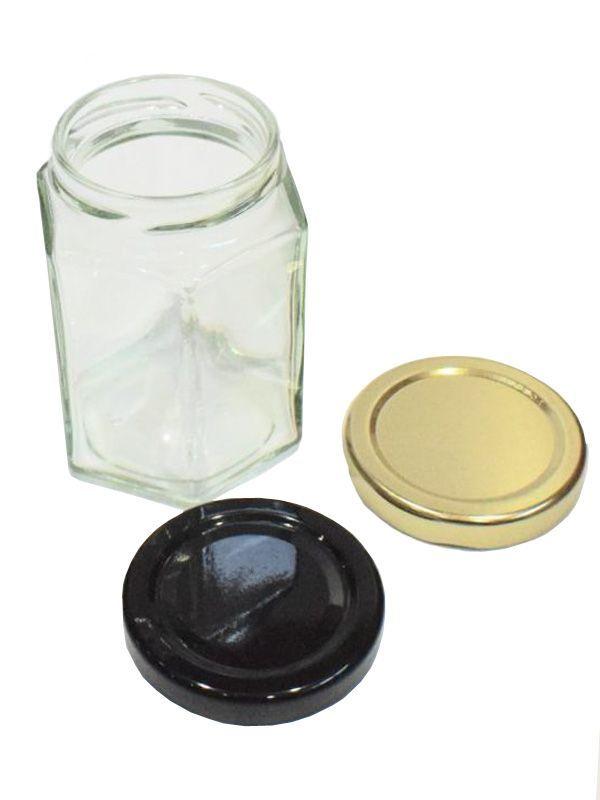 Jam Jars Hexagonal Glass 190ml 2