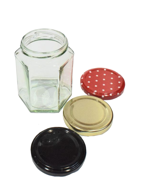 Jam Jars Hexagonal Glass 280ml 1