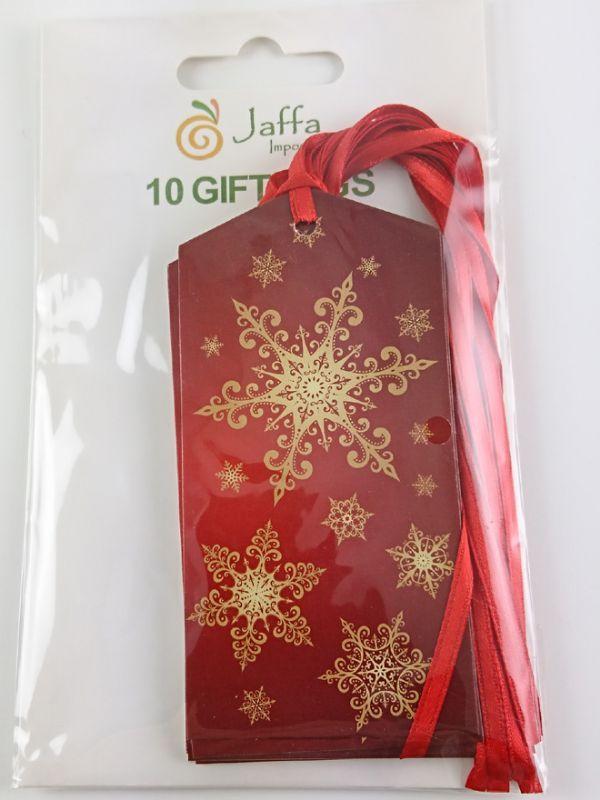Gift Tag Gold Snowflake 50x100mm (10)