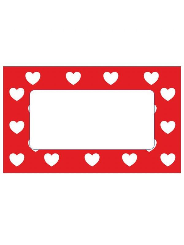 Red Hearts Labels 63x38mm