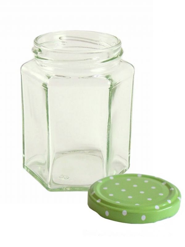 Jam Jars Hexagonal Glass 280ml 2