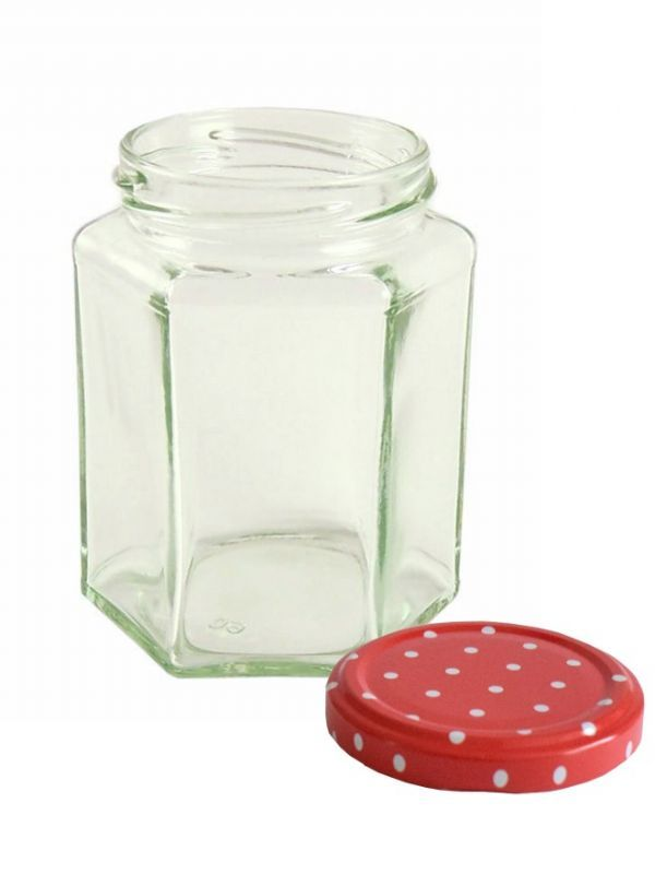 Jam Jars Hexagonal Glass 280ml 3