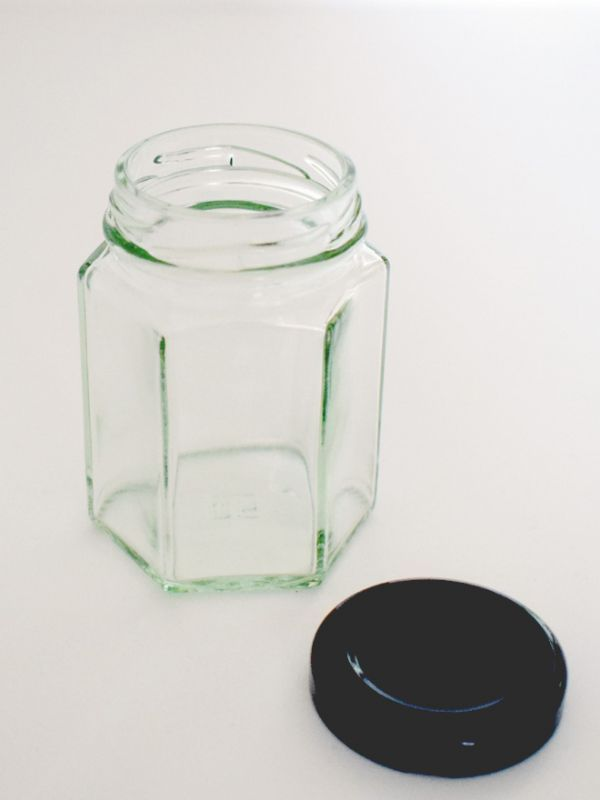 Jam Jars Hexagonal Glass 110ml (x100) Black Lids