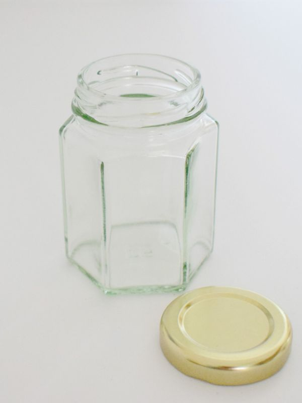 Jam Jars Hexagonal Glass 110ml (x100) Gold Lids