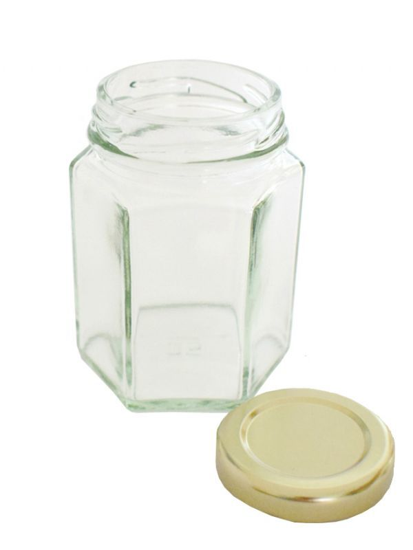 Jam Jars Hexagonal Glass 110ml (x50) Gold Lids