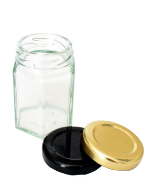 Jam Jars Hexagonal Glass 55ml