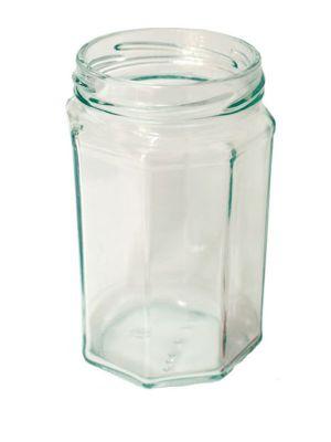 Jam Jars Octagonal Glass 320ml 063 Lid