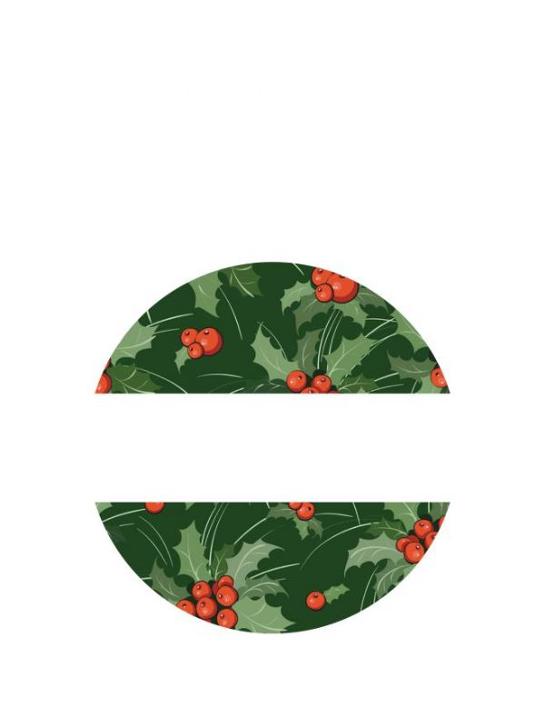 Lid Labels 40mm Christmas Green Holly