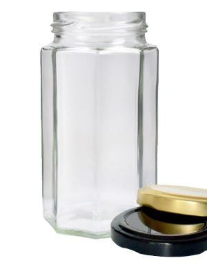 Jam Jars Octagonal Glass 300ml 058 Lid