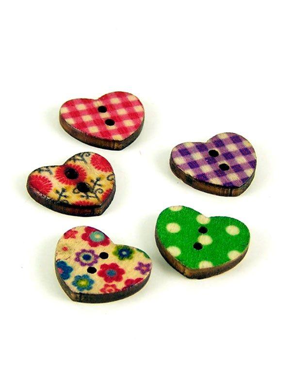 Mixed Print Design Heart Buttons
