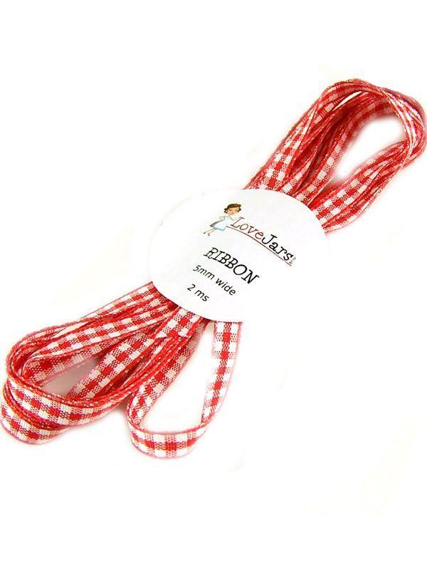 Ribbon Red Gingham 5mm x 2m