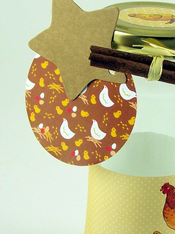 Round Tags  with Ribbon Brown Hens x5