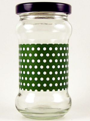 Love jam jars | F Grass Green Spot Jar Wrap