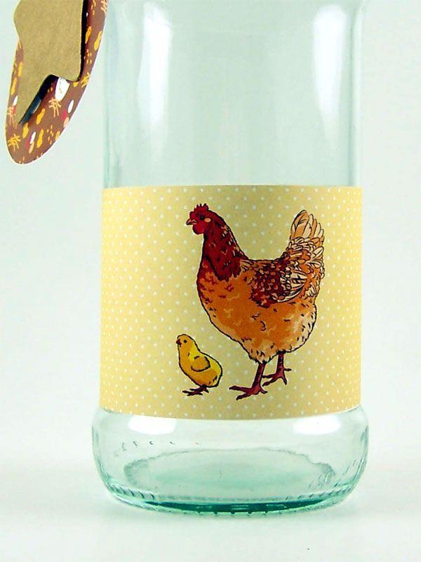 Jar Wraps - Brown Spotty Hen
