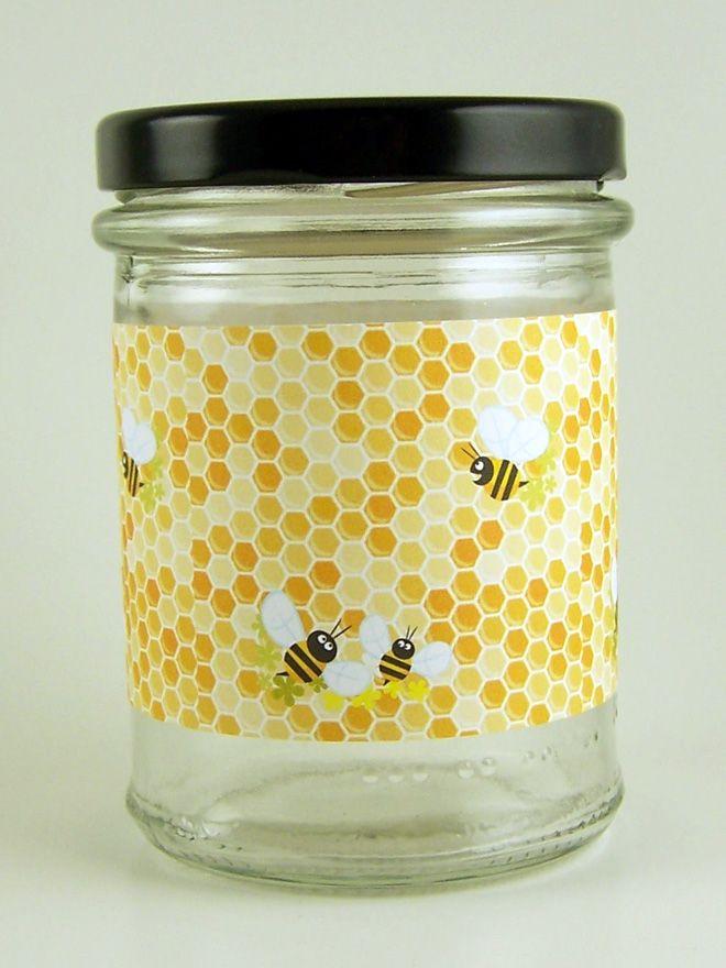 Jar Wraps - Honey Bees Honeycomb