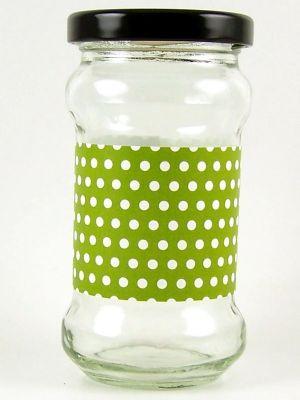 Love jam jars | B Lime green spot jar wrap