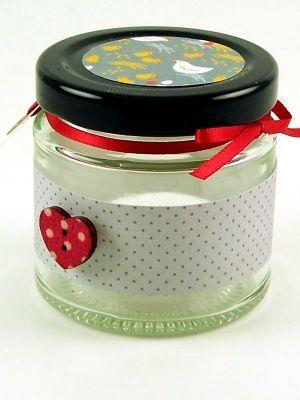 Love jam jars | - Spotty grey jar wrap