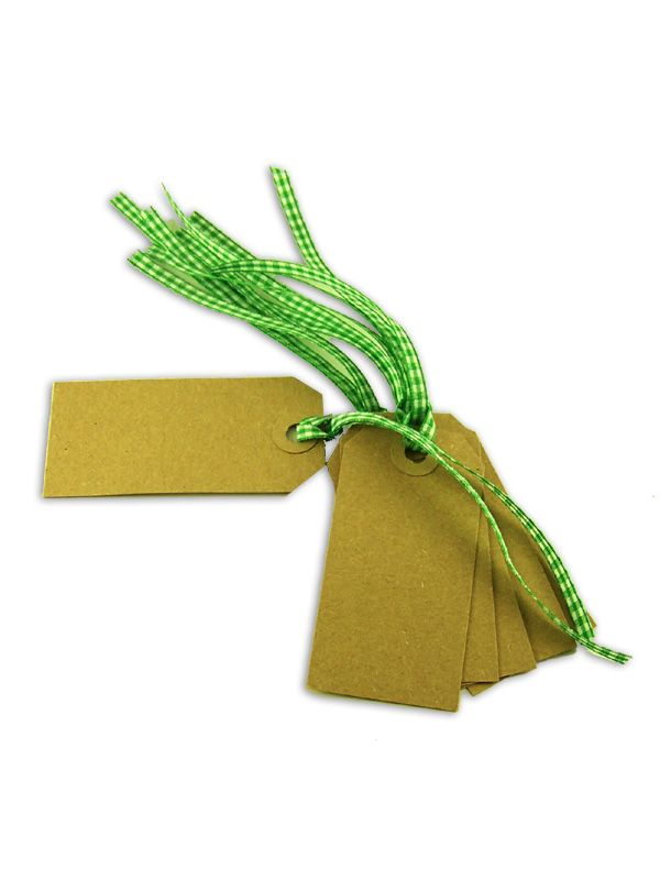 Gift Tag Kraft with Green Gingham Ribbon 83x41mm