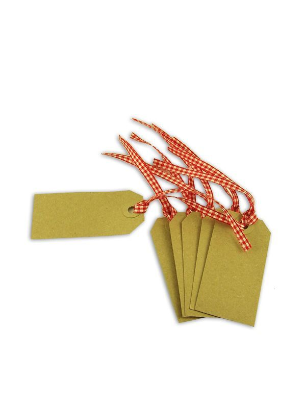 Gift Tag Kraft with Red Gingham Ribbon 83x41mm