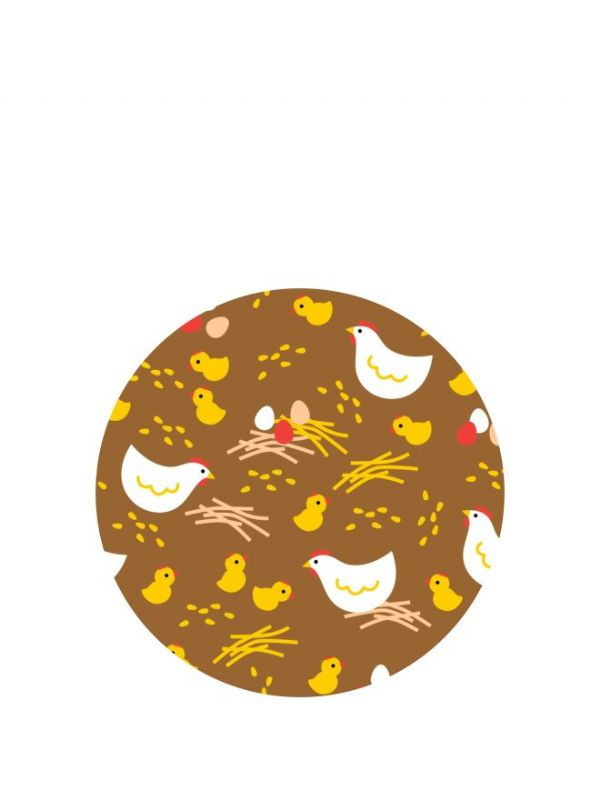 Lid Topper 40mm Brown Hens