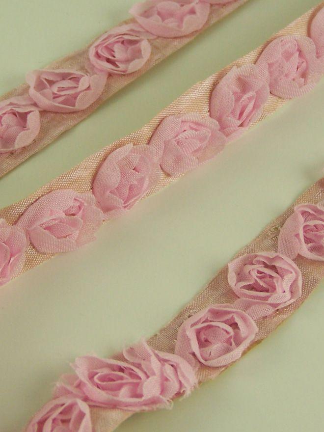 Pink Chiffon Rose Trim 50cm