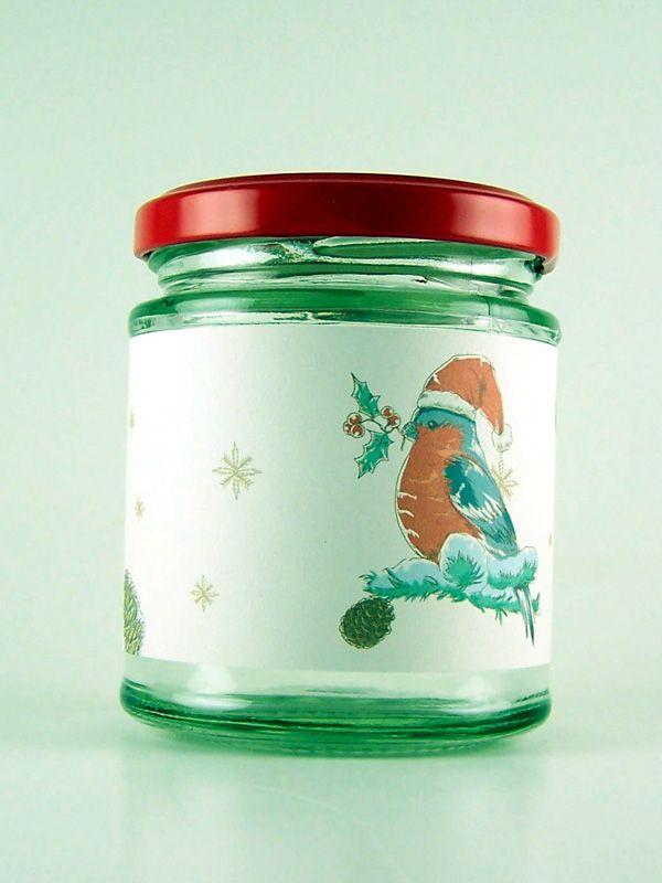 Jar Wraps - Santa Hat Birds